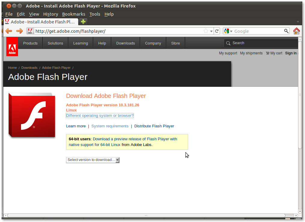 Adobe flash player (firefox, opera, chrome de 64 bits) descargar.